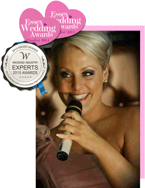 Amy singing and Essex wedding awards finalist 2014 and 2013 rosettes